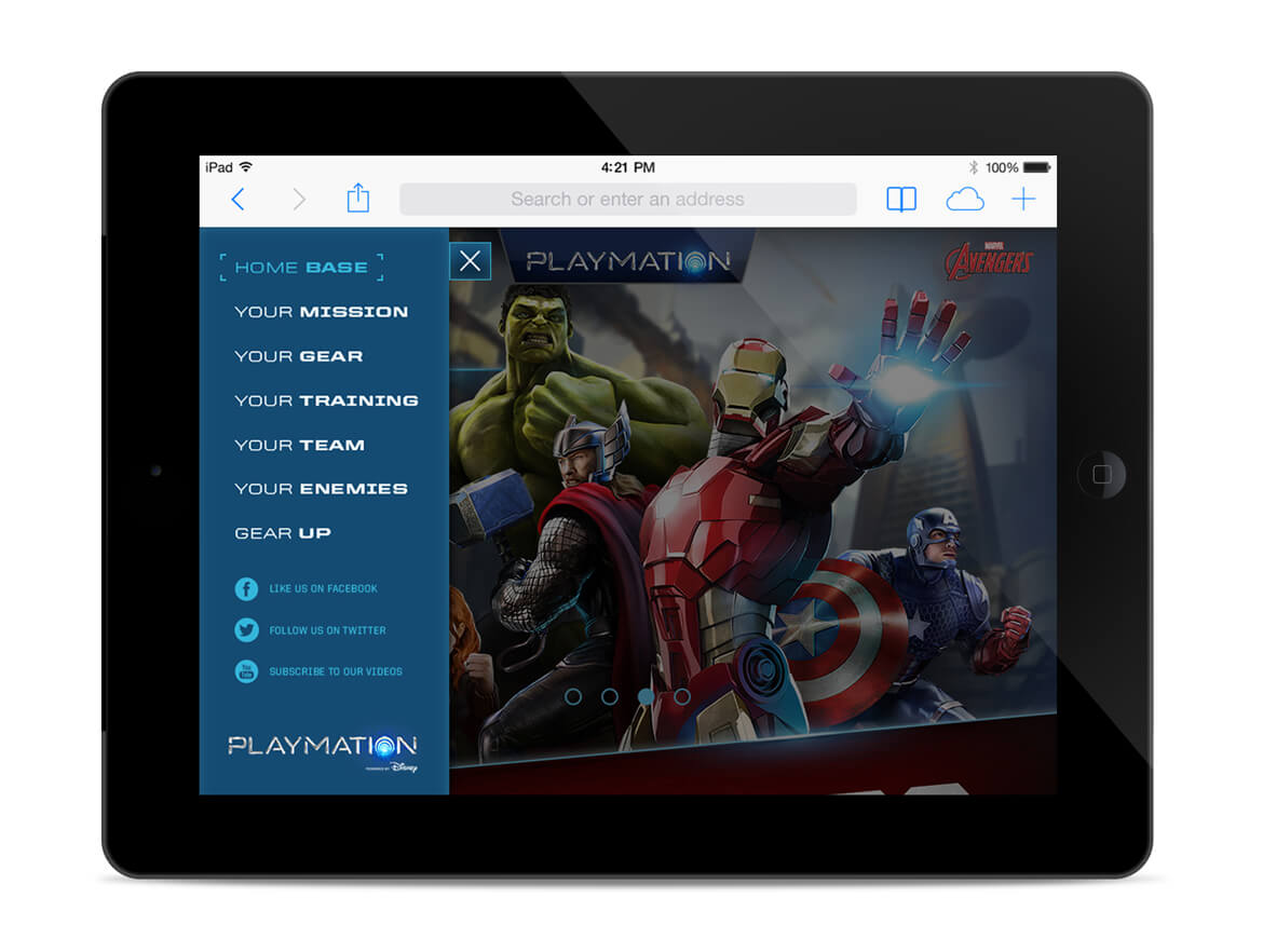 Avengers_website_ipad_menu